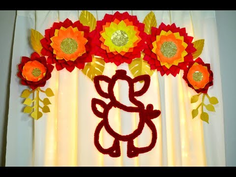 FESTIVAL DECORATION DIY  ||  ECO FRIENDLY GANAPATI DECORATION WITH CARDBOARD|| DIY PAPER FLOWERS
