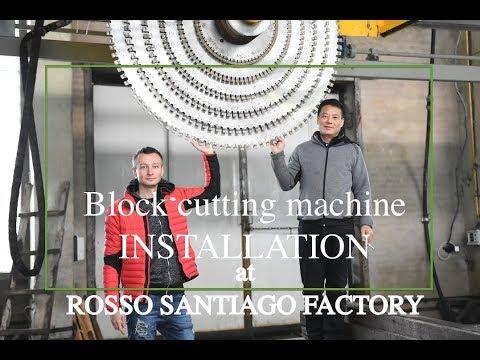 Block cutter installation process. Rosso Santiago factory (Ukraine).