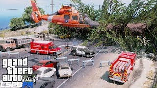 GTA 5 LSPDFR Coastal Callouts - Giant Tree Falls Onto Car - Coast Guard Helicopter Medevac