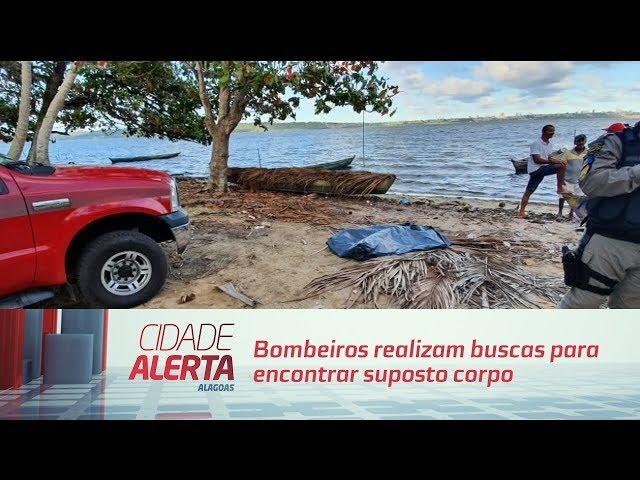 Bombeiros realizam buscas para encontrar suposto corpo na lagoa
