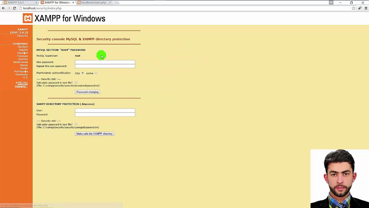 localhost/security/xamppsecurity.php
