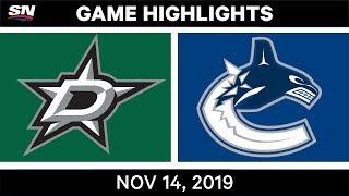 NHL Highlights   Stars vs Canucks – Nov. 14, 2019
