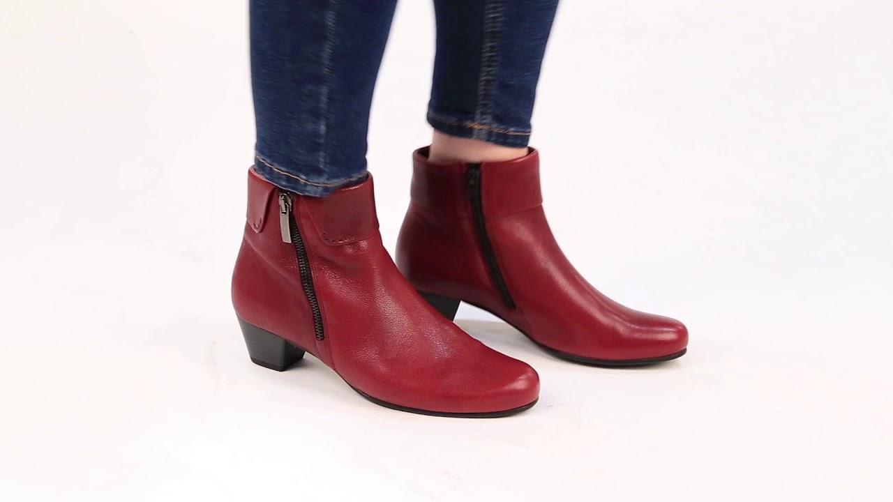Gabor Royston Womens Cuff Zip Fastening Dark Red Ankle Boots
