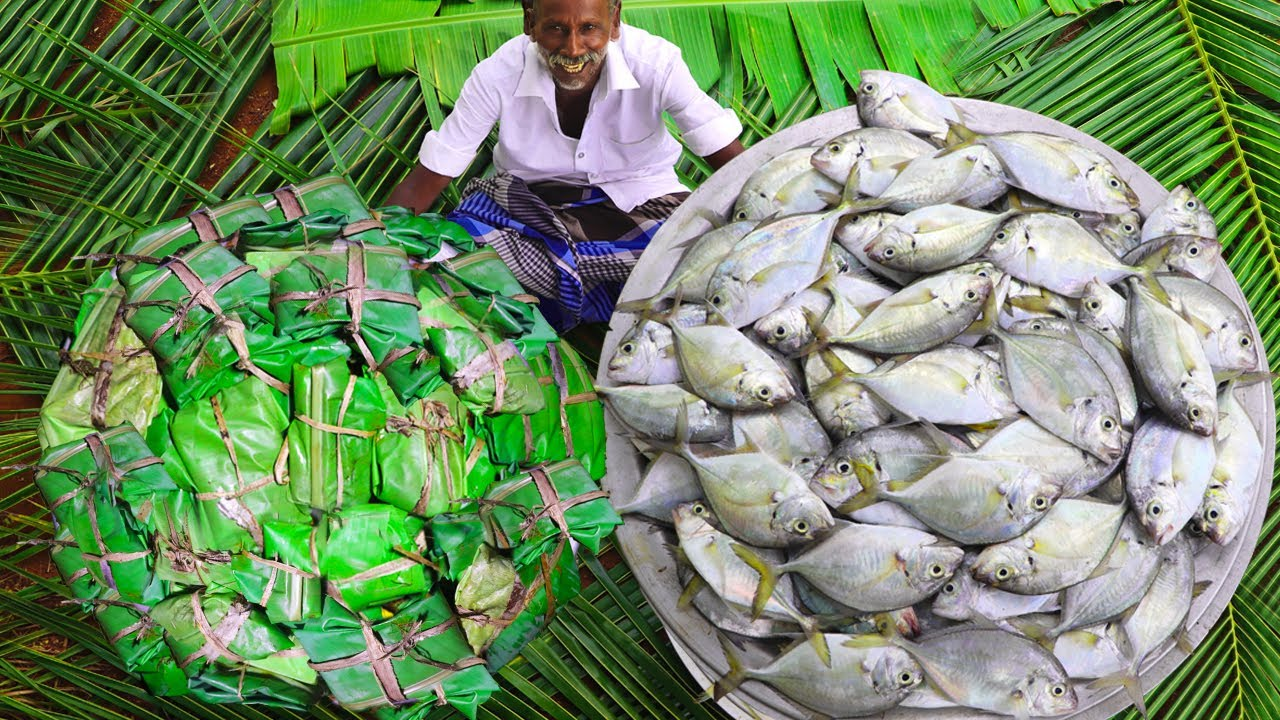 100 FISH POLLICHATHU   Kerala Style Meen Polichathu   Tasty Trevally Fish Recipe Karuppasami Grandpa