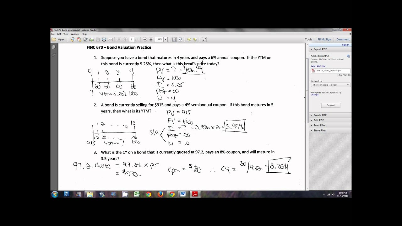 bond valuation problems and solutions pdf