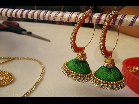 half ring multi color jhumkas and bangles video || DIY with silk thread