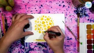 Как нарисовать открытку к 8 марта   Золотое Дерево   Урок рисования