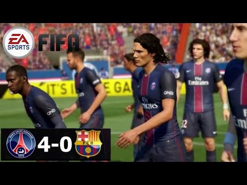 FIFA Remake PSG Vs Barcelona 4-0 | Di Maria,Cavani,Draxler Goals| UCL R16 Leg 1