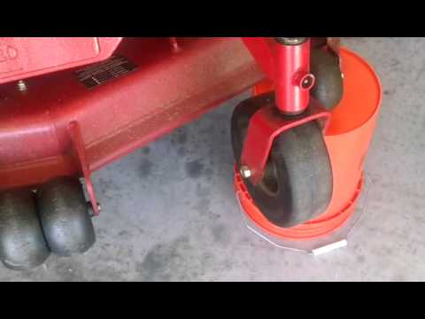 Mower maintenance- Grease caster wheels and check drive tire's psi