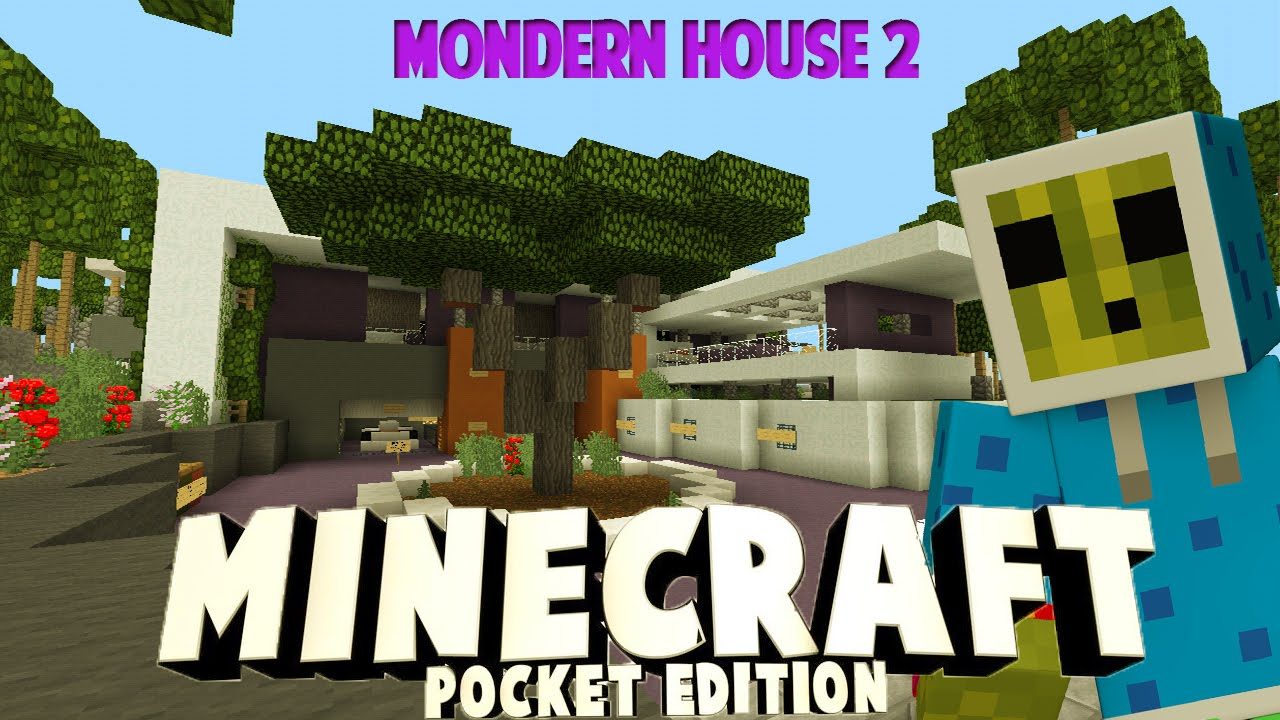 Minecraft pe modern house 2 youtube for Modern house minecraft pe