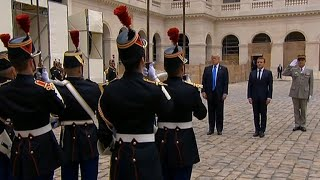 President Trump arrives in Paris for meeting with French President Macron