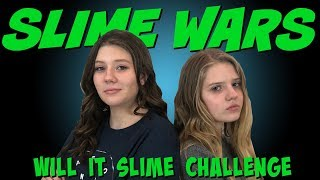 SLIME WARS WILL IT SLIME || SLIME CHALLENGE || Taylor and Vanessa