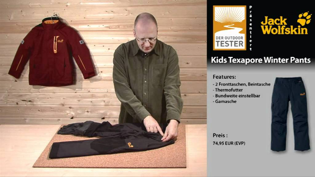 test jack wolfskin kids texapore winter pants youtube. Black Bedroom Furniture Sets. Home Design Ideas