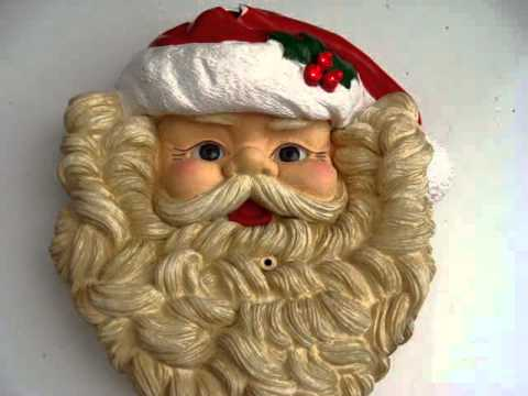MOTION ACTIVATED MUSICAL SANTA FACE ~ HARD PLASTIC 10