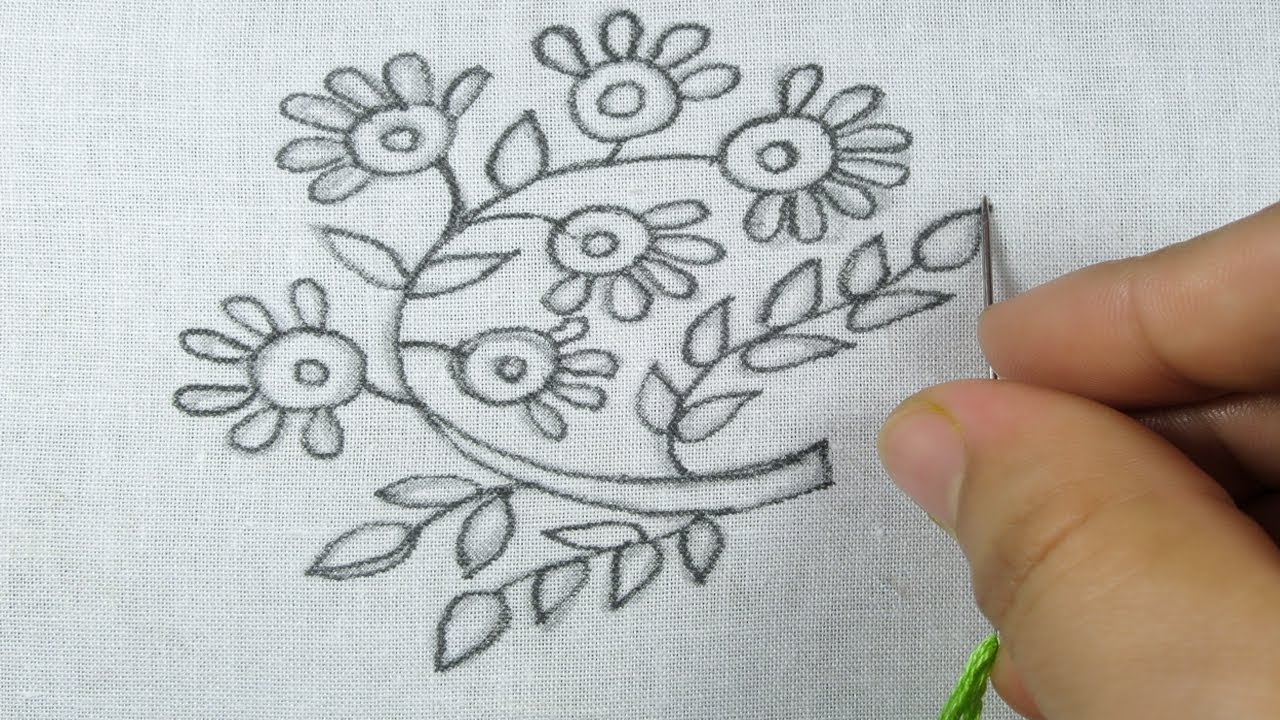 New Floral Modern Hand Embroidery Design By Rose World Youtube