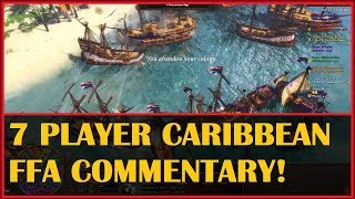 7 Player Caribbean FREE FOR ALL Commentary! Age of Empires III
