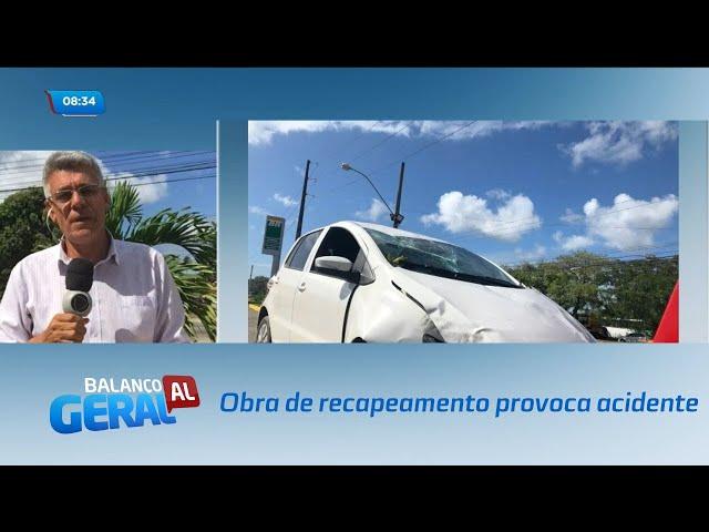 Obra de recapeamento provoca acidente na Avenida Durval de Góes Monteiro