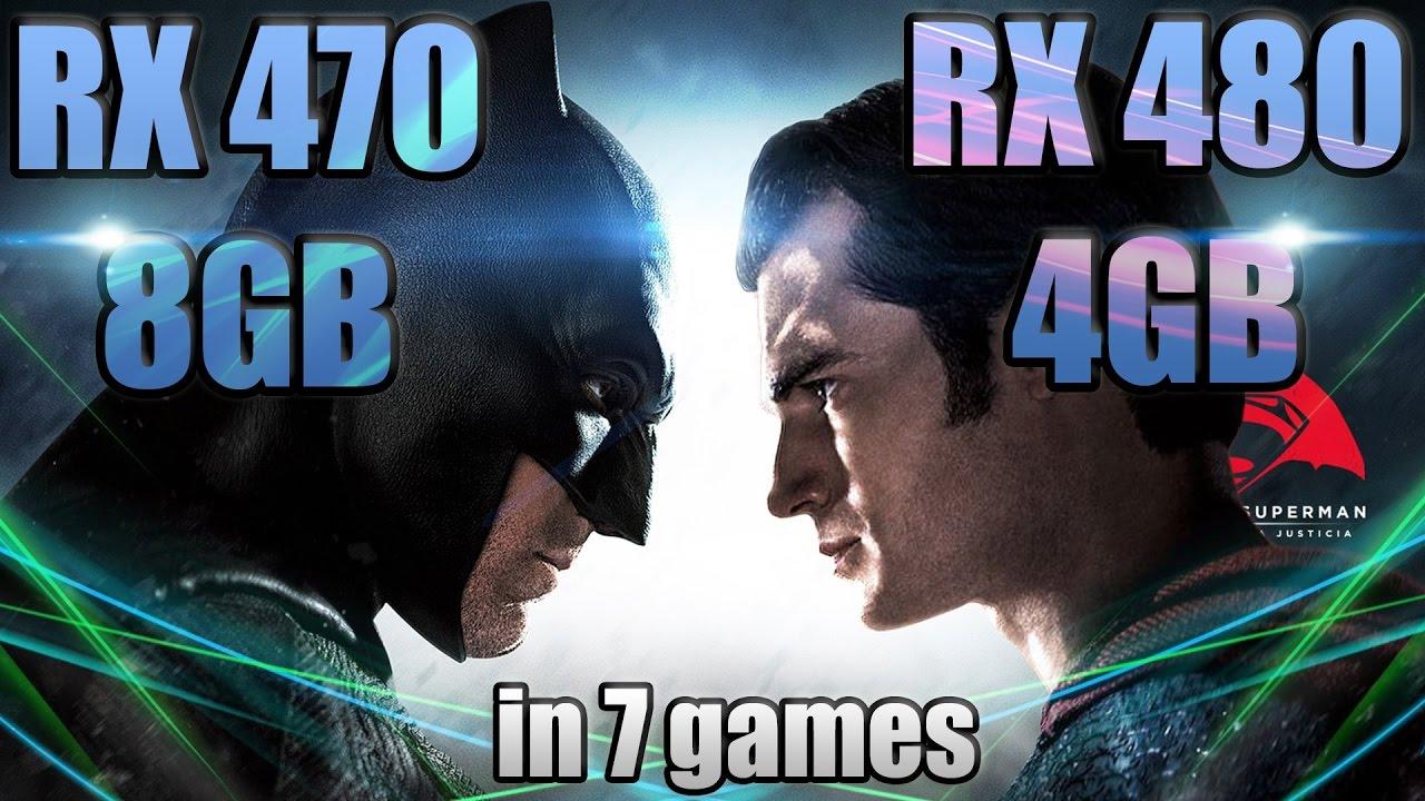 RX 470 8 против 480 4GB в 7 играх (i7-6700@4.75)