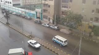 لاول مرة السماء تمطر قطع ثلج كبيرة في محافظة بني سويف