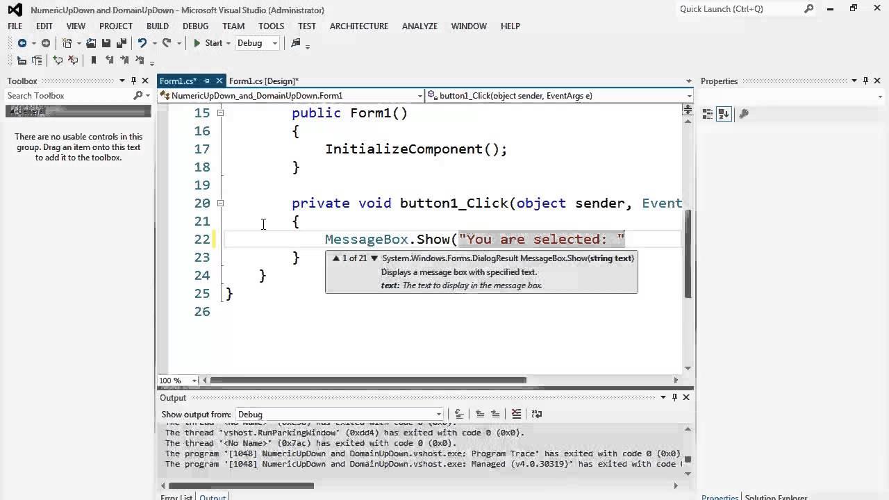 66. برمجة الواجهات -  NumericUpDown and DomainUpDown