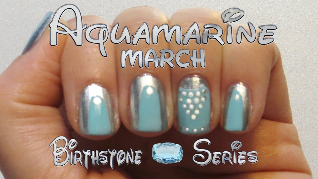 DIY Aqua Nail Design - March Birthstone Series Nail Art - DIY Aqua Nail Design - March Birthstone Series Nail Art - YouTube
