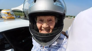 'Crazy Granny' attacks bucket list with race car drive