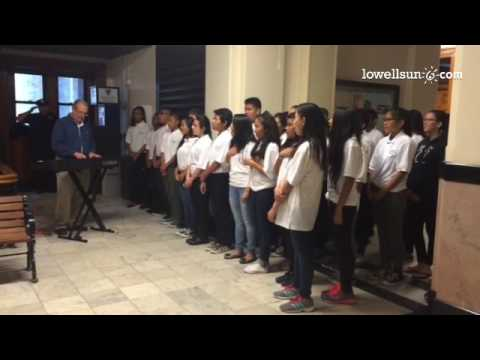 children's chorus from the stoklosa middle school sang the national