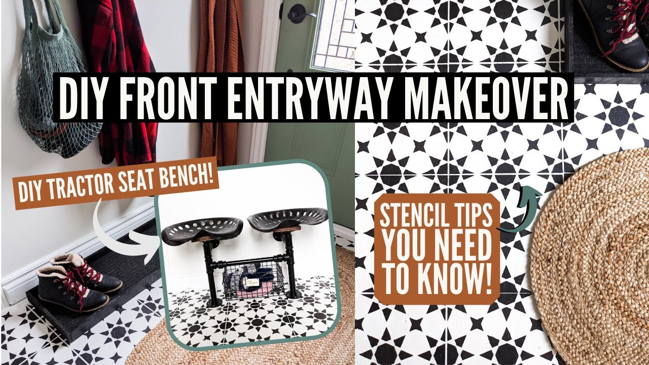 this small space entryway got a serious diy makeover! | How To Stencil Your Floor!