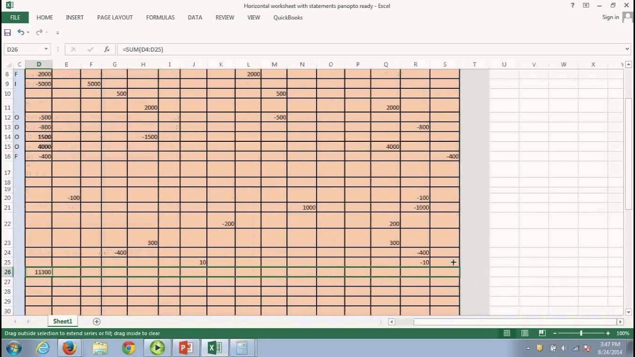 horizontal worksheet income statement balance sheet cash flow