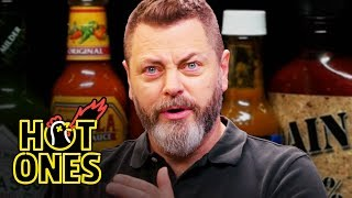 Download Nick Offerman Gets the Job Done While Eating Spicy Wings | Hot Ones Mp3 and Videos