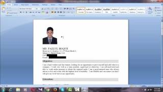 HOW TO INSERT OR ADD A PICTURE IN YOUR CV