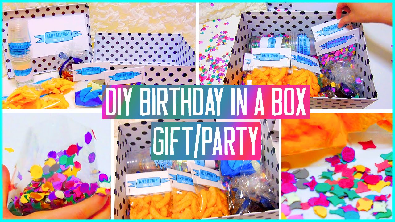 diy birthday in a box throw a mini party for your friend gift idea