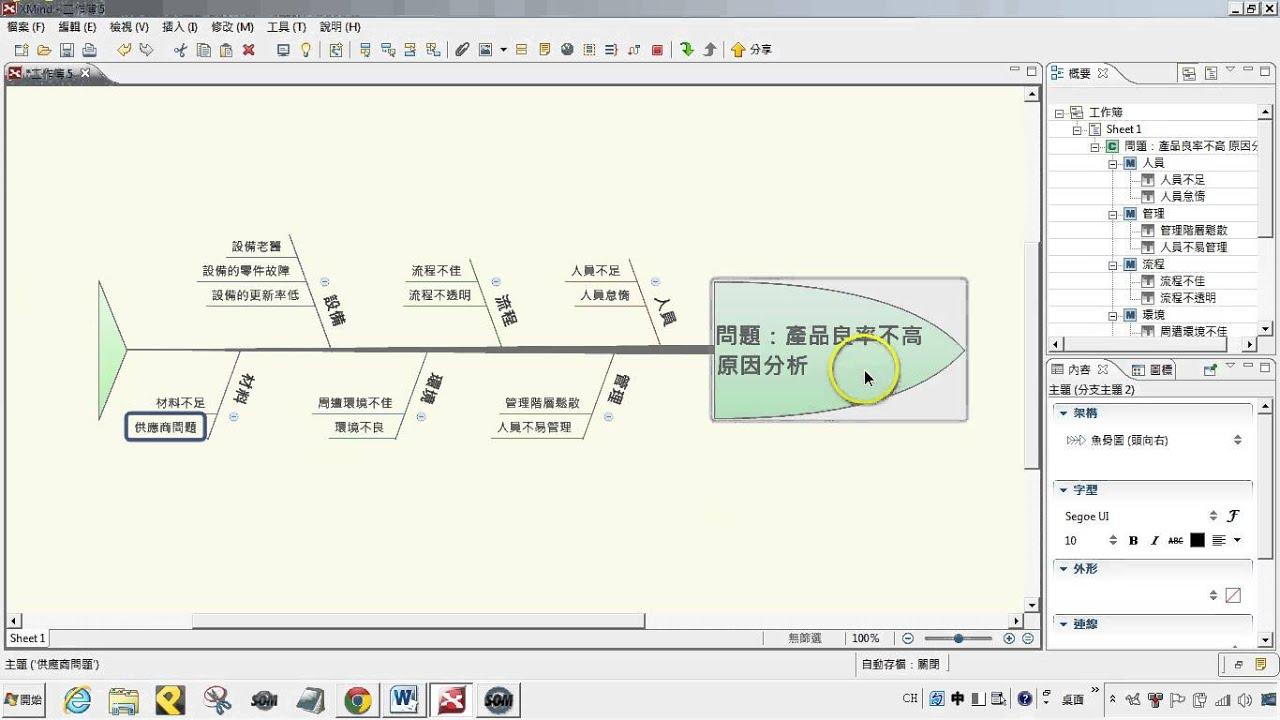 Xmind心智圖:教學004-魚骨圖功能操作介紹 【軟雲應用】 - YouTube
