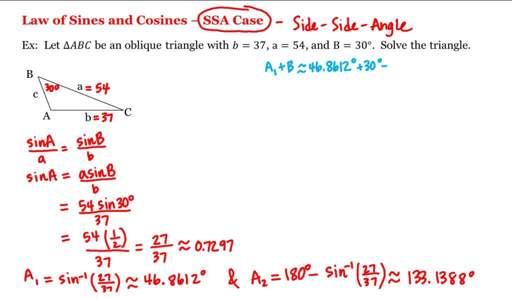 Math 1A1B PreCalculus Law of Sines and Cosines SSA Case – Law of Sine and Cosine Worksheet
