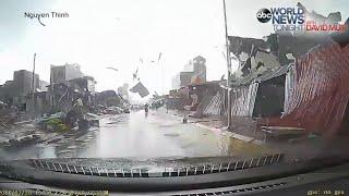 Tornado Rips Through Busy Vietnam Street [DASH CAM VIDEO](Dramatic dash cam video shows the moment a tornado tore through a busy street northeast of Hanoi, Vietnam. SUBSCRIBE to ABC NEWS: ..., 2016-08-02T20:04:46.000Z)