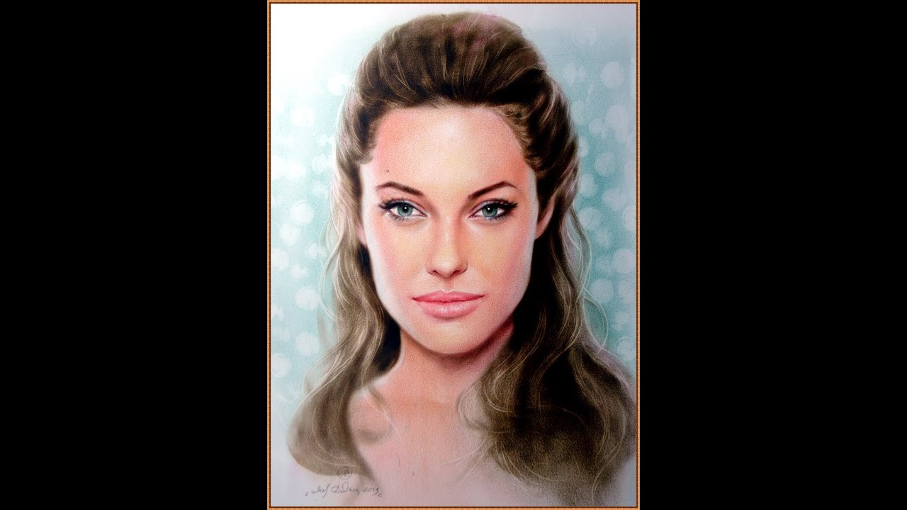 Angelina Jolie Painting Portrait In The Mixed Media