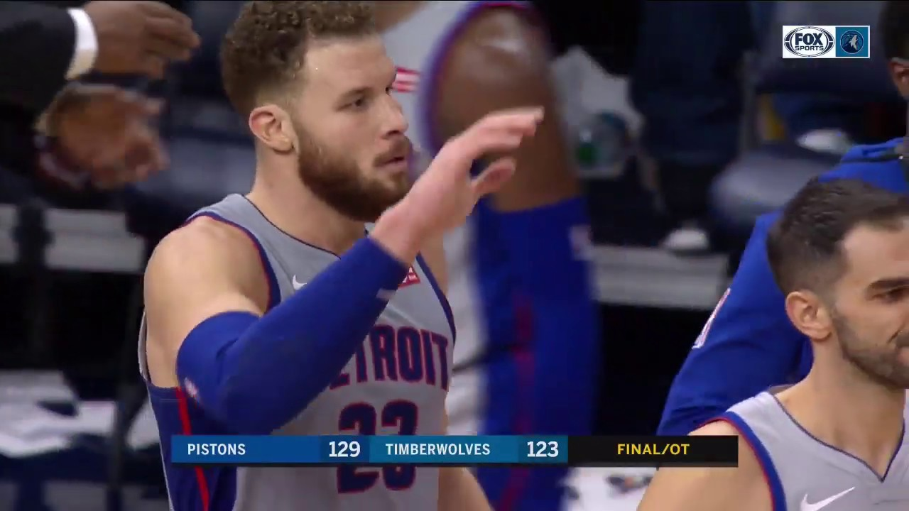 HIGHLIGHTS: Griffin, Pistons heat up late, Wolves lose 129-123 in OT