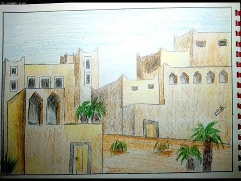 كيفية رسم بيوت شعبية تعليم الرسم للمبتدئين رسم الاحياء الشعبية