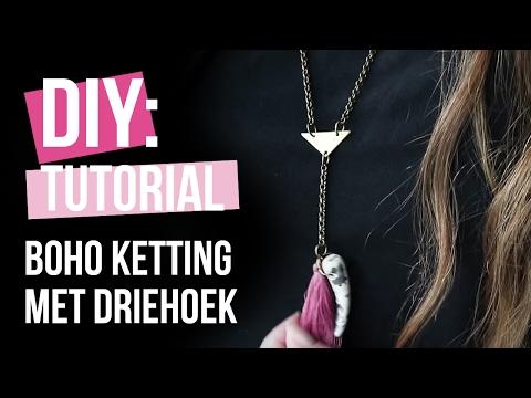 Sieraden maken: Ketting met onderdelen van DQ metaal en trendy driehoek tussenstuk ♡ DIY