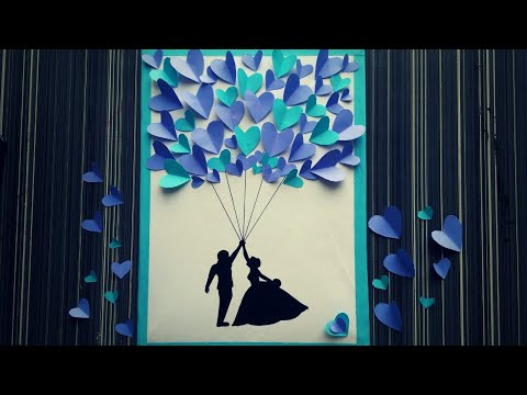 Wedding guest book DIY || Loving couple Painting || wedding Card ideas || Silhouette art ||