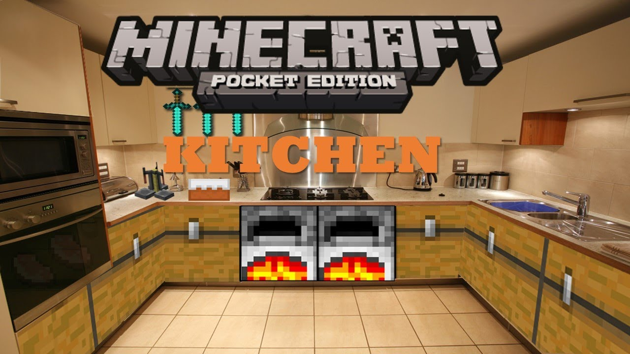 Minecraft Pe Furniture minecraft pocket edition build tutorials episode 2- kitchen - youtube