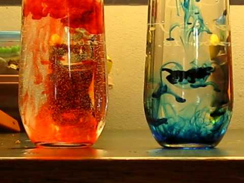 Red and Blue food coloring in Hot and Cold water - YouTube