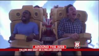 jimmy fallon and kevin hart on a roller coaster