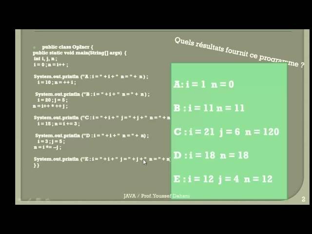 Exercice Java N° 3 : Incrémentation et la décrémentation