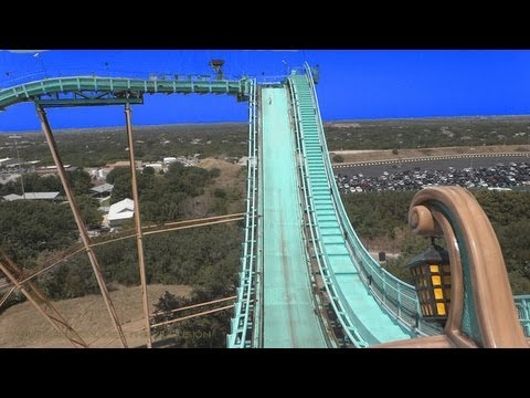Journey To Atlantis On-ride Front Seat (HD POV) San Antonio Texas