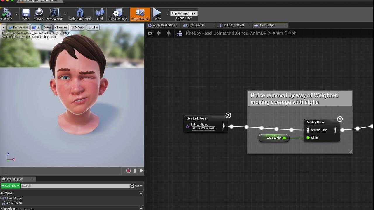 Facial animation capture using UE4 and iPhone X - Joe Graf