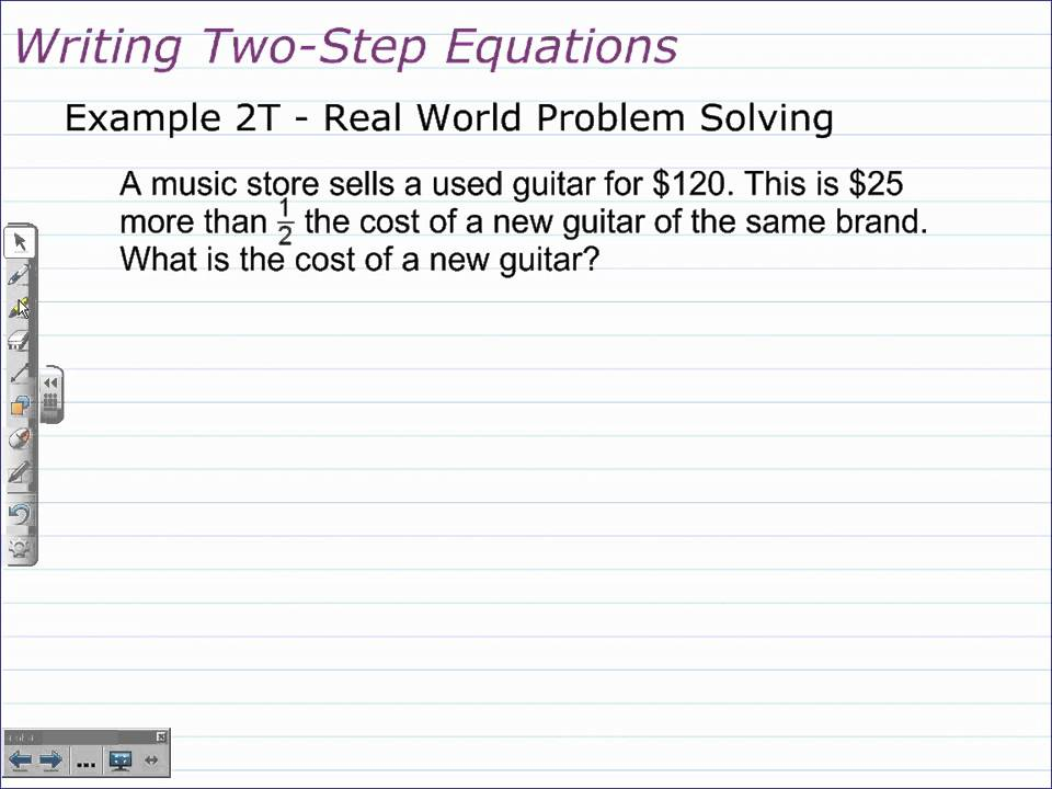 Writing and Solving TwoStep Equations – Two-step Word Problems Worksheet