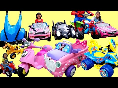 HUGE SURPRISE UNBOXING of 12 Ride On Power Wheels | PINK Mercedes Mini Batmobile Paw Patrol Mega