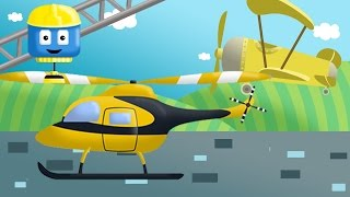 Helicopter, plane & police car - Tom & Matt the Construction Trucks | Construction Cartoons for kids