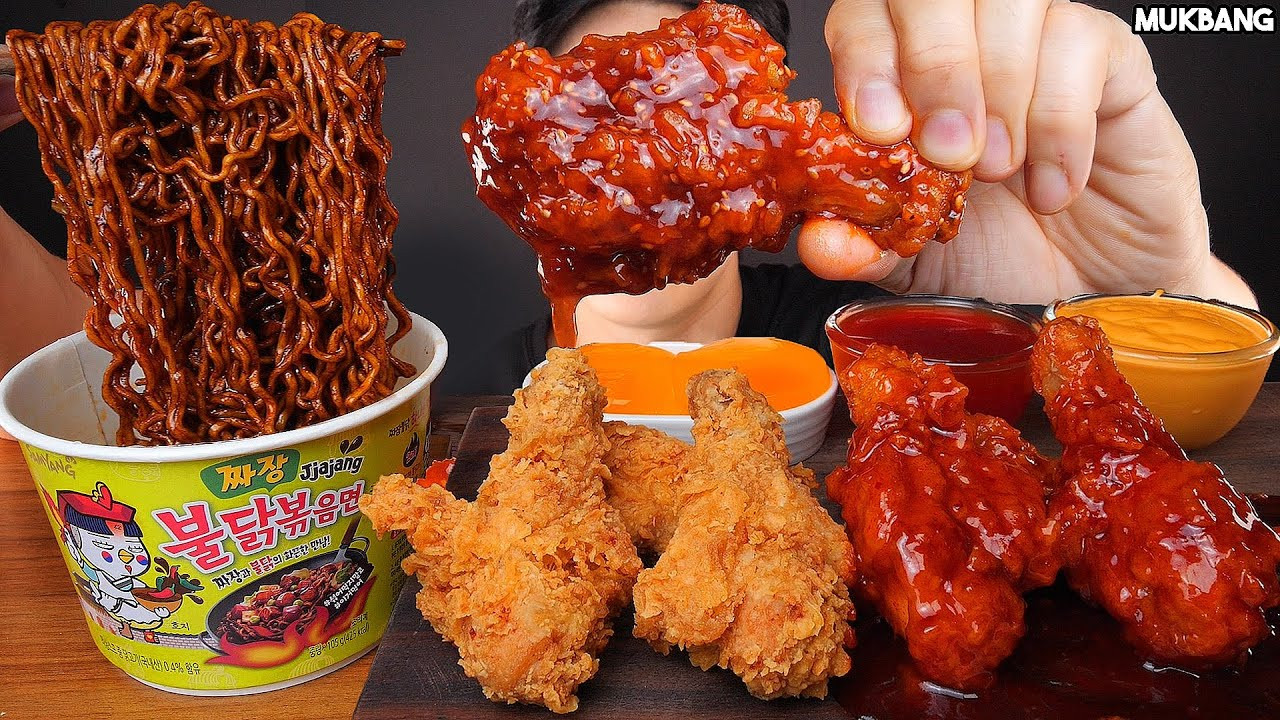 ASMR MUKBANG | SPICY FRIED CHICKEN 🍗 FIRE BLACK BEAN NOODLES EATING SOUNDS 짜장불닭 볶음면 양념치킨 소스 퐁당! 먹방